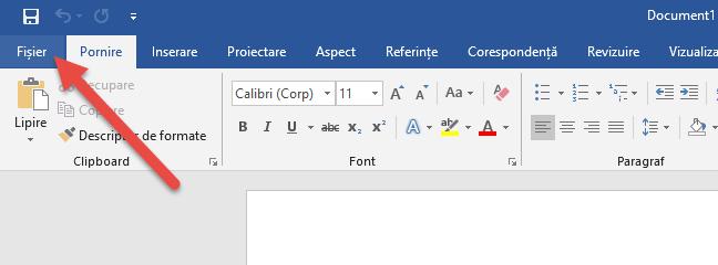 Fila Fișier (File) din Microsoft Word 2019