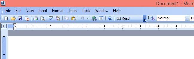 Meniul principal din Microsoft Word 2003