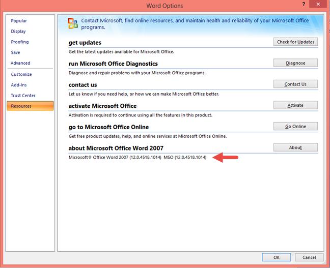 Versiunea de produs a Microsoft Office 2007