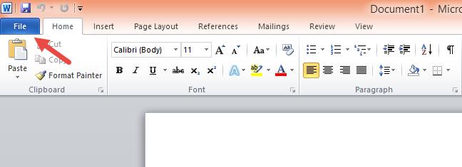 Fila Fișier (File) din Microsoft Word 2010