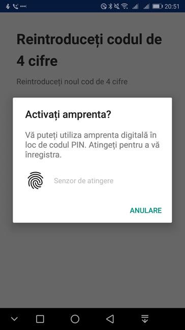 Activează amprenta în OneDrive pentru Android