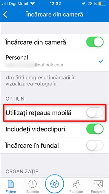 Opțiunea de a încărca imagini în OneDrive și prin intermediul rețelei mobile