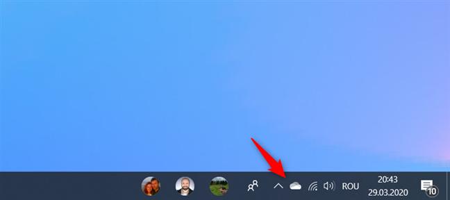 Pictograma OneDrive din zona de notificare de pe bara de activități