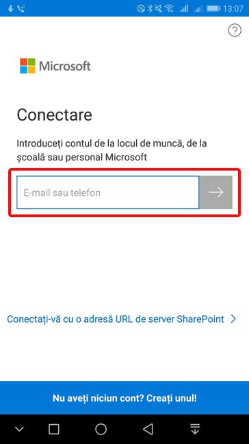 Conectare în OneDrive pentru Android
