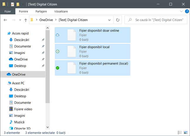 Fișiere la cerere OneDrive: disponibile doar online, disponibile local și disponibile permanent