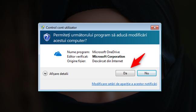 Notificarea CCU afișată când încerci să instalezi OneDrive