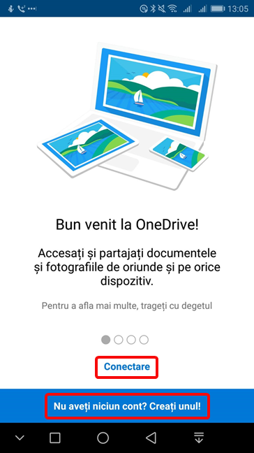 Conectează-te sau crează un cont pentru OneDrive în Android