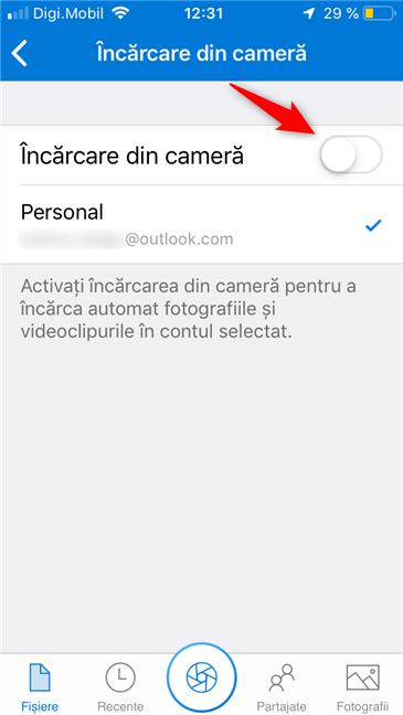 Comutatorul de Încărcare din cameră, în OneDrive pentru iPhone