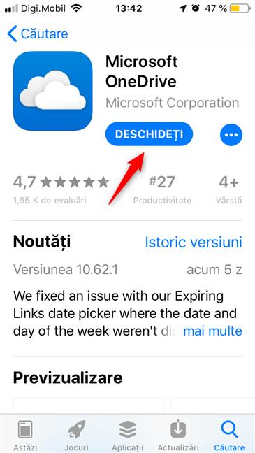 Deschiderea OneDrive din App Store