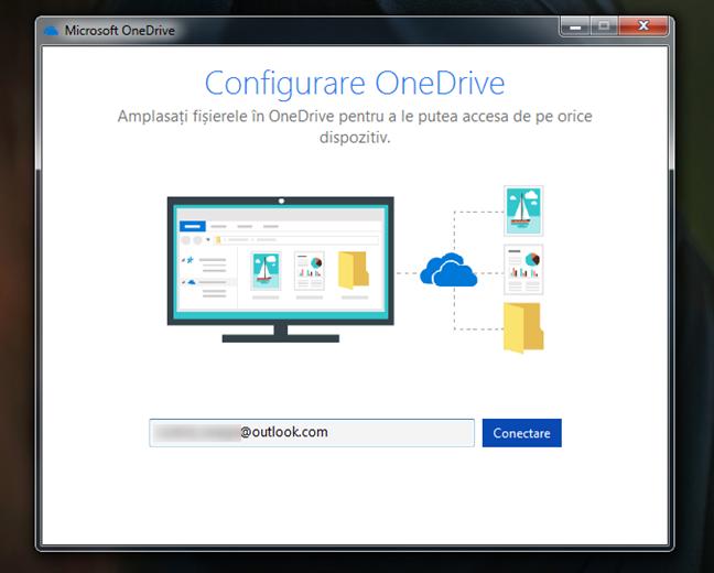Introducerea contului Microsoft utilizat cu OneDrive