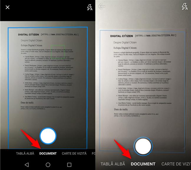 Alegerea tipului de scanare: tablă albă, document, carte de vizită sau fotografie