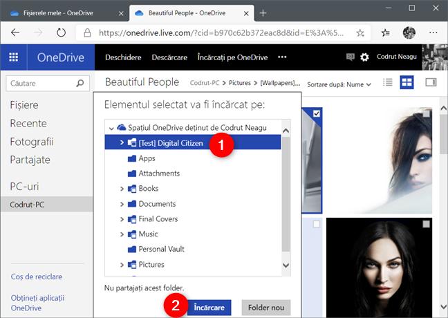 Selectarea locației unde se salvează fișierul preluat în OneDrive