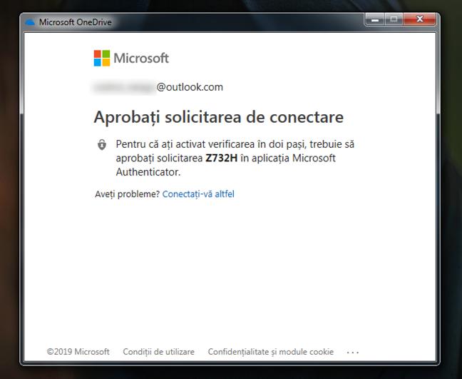 Verificarea în doi pași pentru contul Microsoft