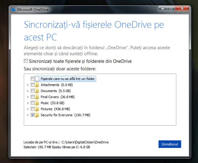 Selectarea folderelor care sunt sincronizate cu OneDrive