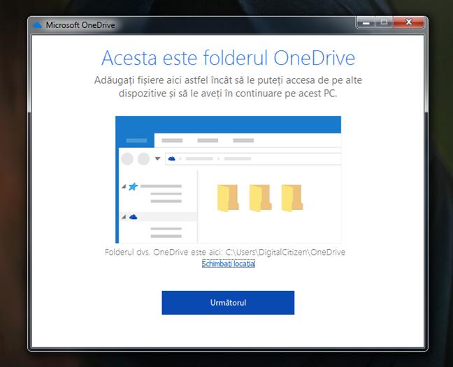 Locația folderului OneDrive