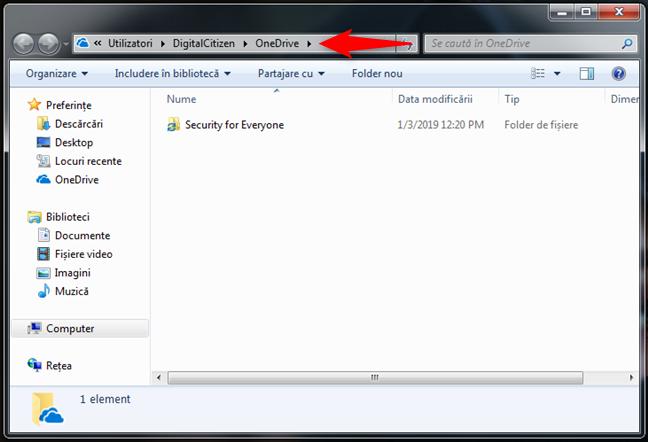 OneDrive în Windows Explorer