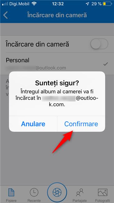 Confirmare pentru backup fotografii în OneDrive
