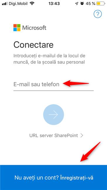 Conectarea sau crearea unui nou cont Microsoft