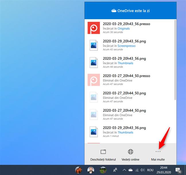 Butonul Mai multe din fereastra OneDrive