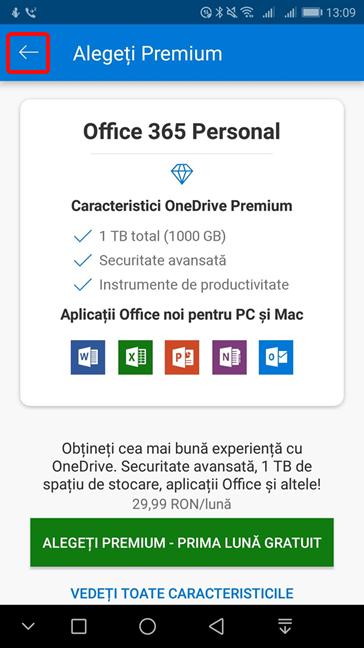 Oferta Premium în OneDrive pentru Android
