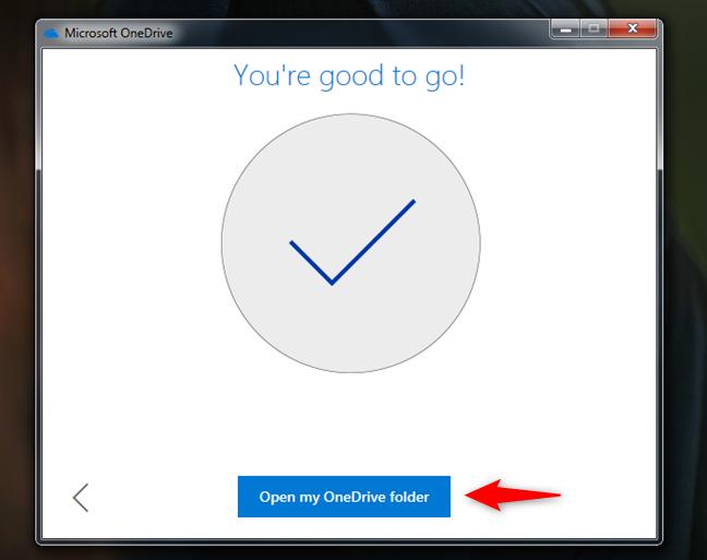 Finalul instalării OneDrive