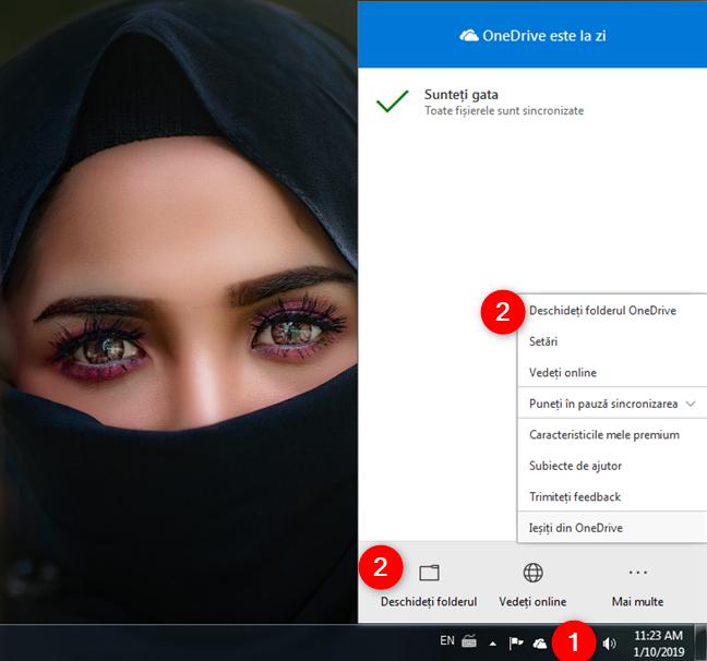 Deschiderea folderului OneDrive din meniul clic dreapta