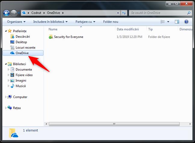 OneDrive în lista de Preferințe din Windows Explorer