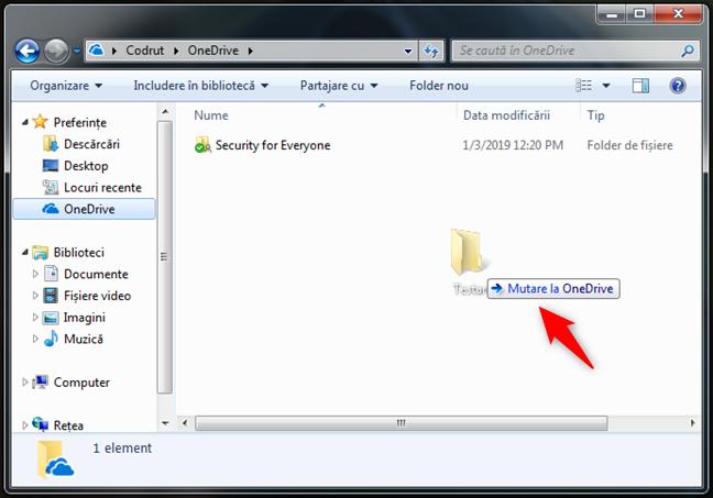 Tragerea fișierelor sau folderelor în OneDrive pentru Windows 7