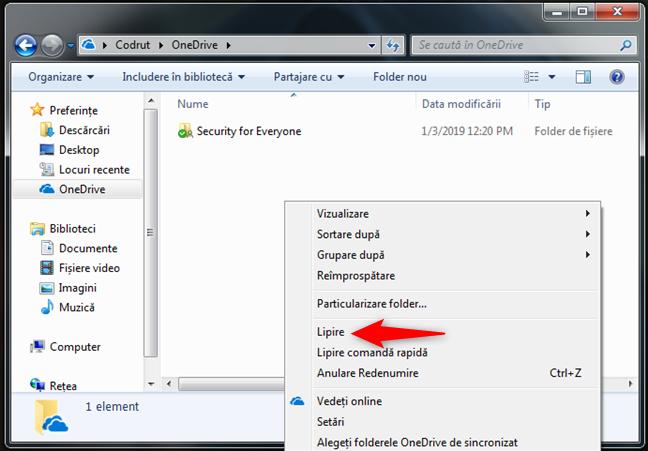 Copiere și lipire de fișiere sau foldere în OneDrive pentru Windows 7