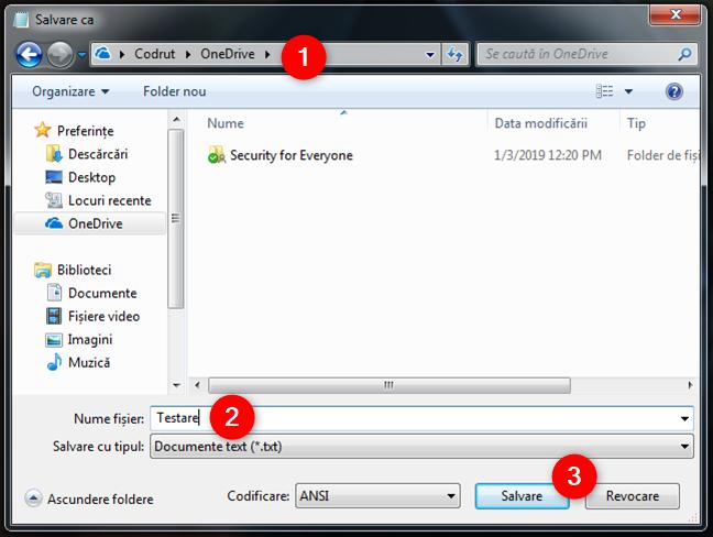 Salvarea fișierelor în folderul OneDrive