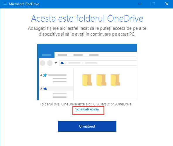 OneDrive crapă atunci când dai clic pe butonul pentru schimbarea locației