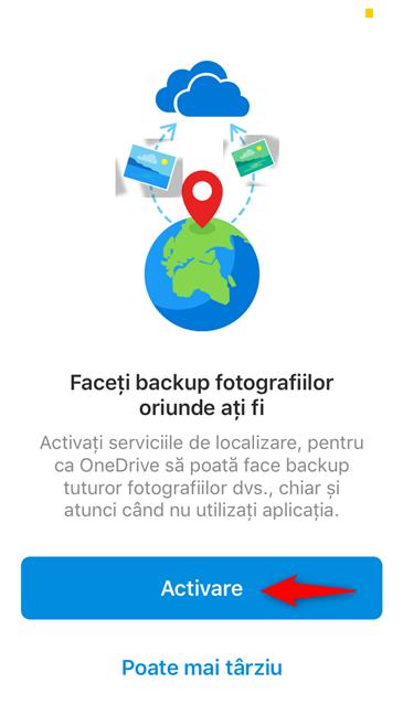 Activare permisiuni pentru aplicația OneDrive din iOS pentru a încărca automat imagini în fundal