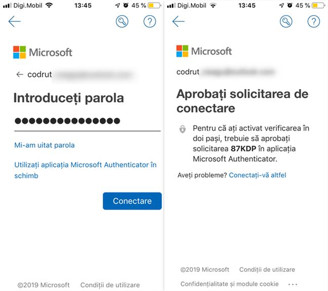 Autentificarea în contul Microsoft