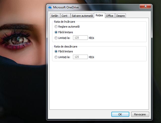Limitele de viteză pentru descărcare și încărcare în OneDrive pentru Windows 7