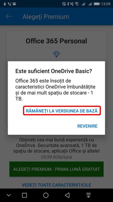Rămâneți la versiunea de bază în OneDrive pentru Android