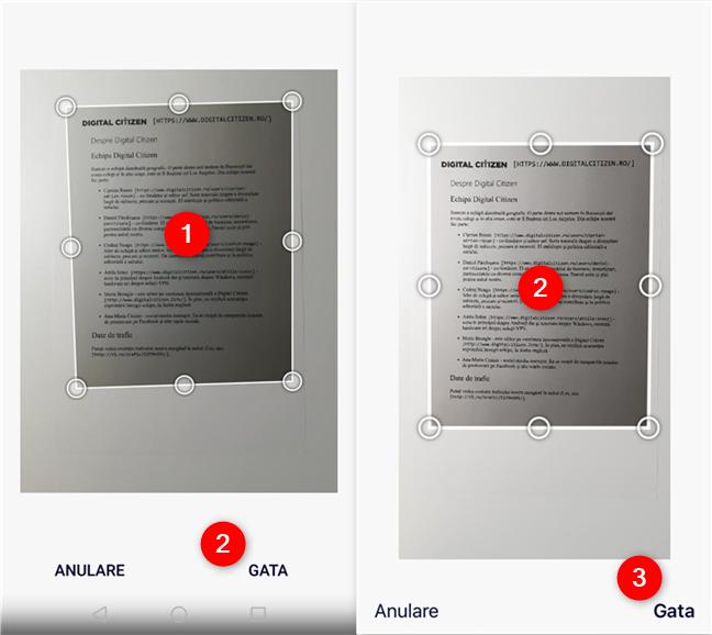 Decuparea unei scanări în OneDrive