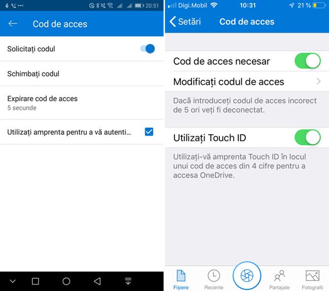Setări pentru codul de acces în OneDrive pentru Android și iOS