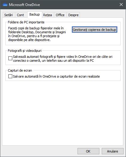 Opțiuni de salvare automată disponibile în OneDrive pentru Windows 10