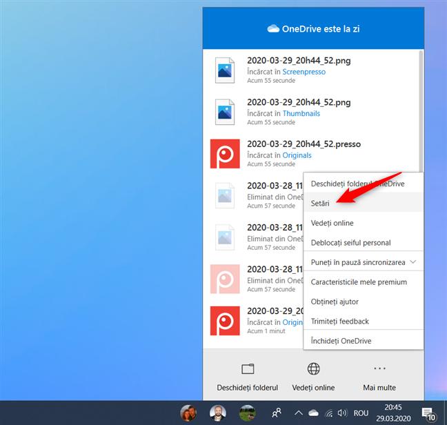 Opțiunea Setări din meniul Mai multe din OneDrive