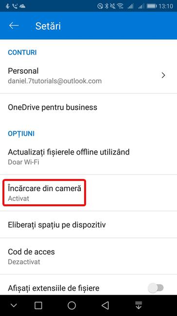 Schimbă setările pentru Încărcare din cameră în OneDrive pentru Android