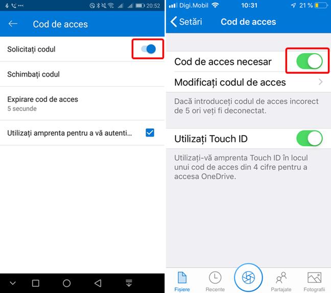 Dezactivează Codul de acces în OneDrive pentru Android și iOS