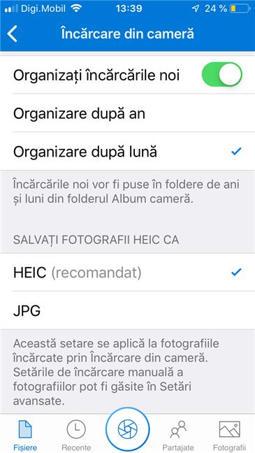 Opțiuni de organizare în aplicația OneDrive pentru iPhone
