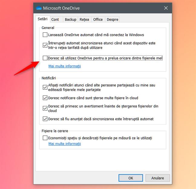 Dezactivarea opțiunii Doresc să utilizez OneDrive pentru a prelua oricare dintre fișierele mele