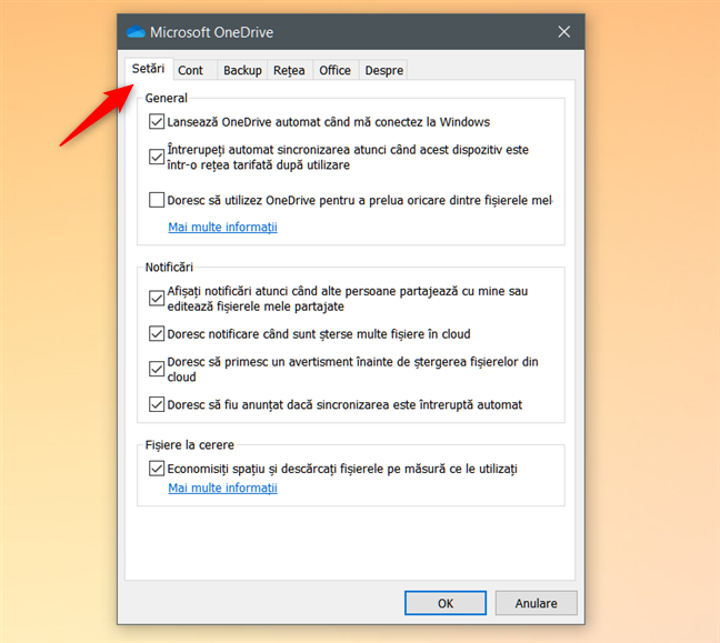 Fila Setări din Microsoft OneDrive