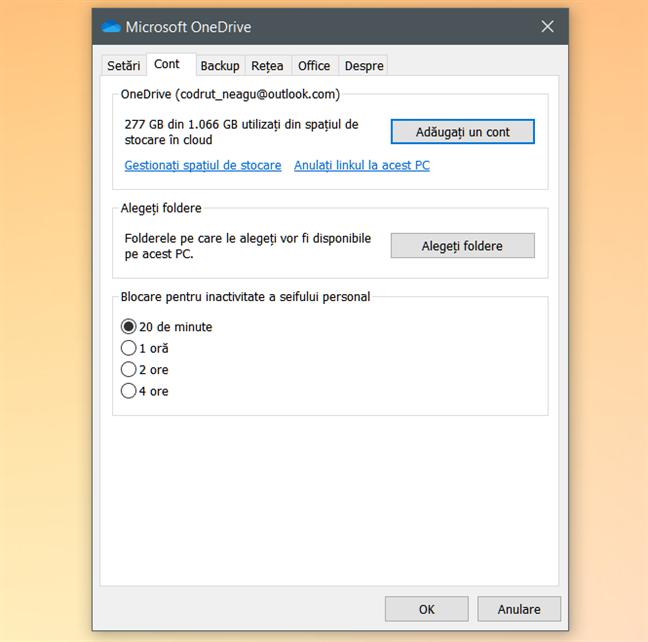 Fereastra de configurare Microsoft OneDrive