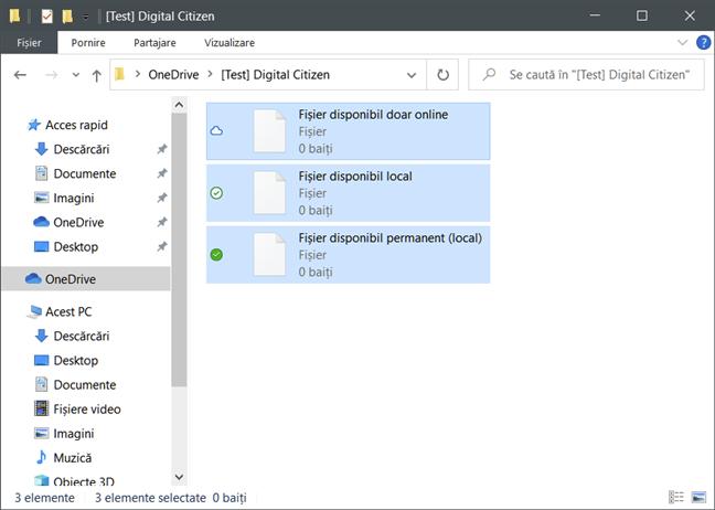 Fișiere la cerere OneDrive