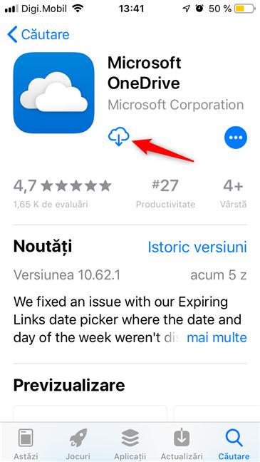 Instalarea OneDrive pe un iPhone