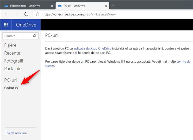 Lista de PC-uri unde este activată preluare de fișiere cu OneDrive