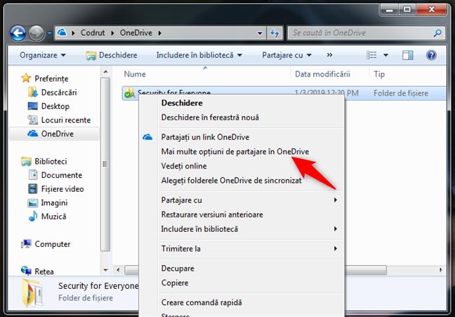 Mai multe opțiuni de partajare în OneDrive disponibile pe web