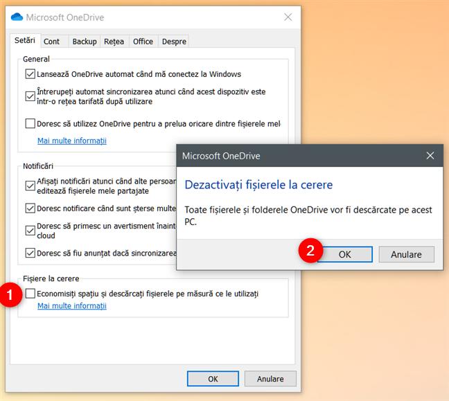 Dezactivare Fișiere la cerere în OneDrive